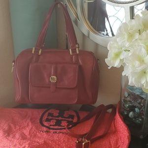 Tory Burch red pebbled leather satchel handbag